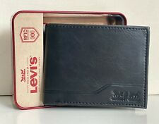 NEW! LEVI'S BLACK RFID PROTECTION BILLFOLD LEATHER PASSCASE WALLET GIFT SALE
