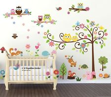 Woodland Animal Owl Flower Baby Girls Boys Nursery Wall Art Mural Decal Sticker