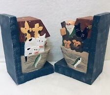 Midwest of Cannon falls Folk Art Noah's Ark Bookends Carved Wood Boat