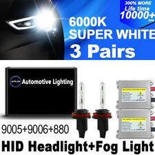 NEW 6x Xenon HID Headlight Kit DSV High + Low Beam Fog Light 9005 9006 880 6000K