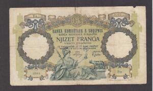 20 FRANGA FINE BANKNOTE FROM ITALIAN OCCUPIED ALBANIA 1939 PICK-7