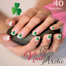 40 x Nail Art Water Transfers Stickers Wraps Decals Irish Shamrock Clover Lucky