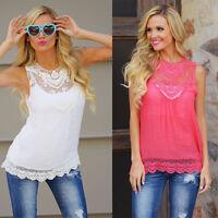 Summer Womens Loose Casual Chiffon Sleeveless Lace Shirt Tops Blouse Ladies Tops