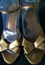 Peep toe, Bow detail Ankle strap Gold Shoes by 'BERTIE', UK size 5 - EU size 38