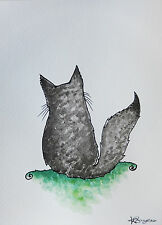 Petit Originale Aquarelle Photo a5 Chat Chaton Noir Gris Moelleux