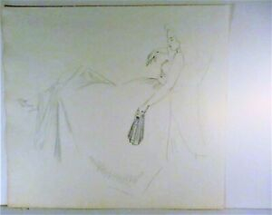 LOUISE LEMP PABST, WI ARTIST, PABST BREWERY FAMILY, STUDY OF A WOMAN RECLINING