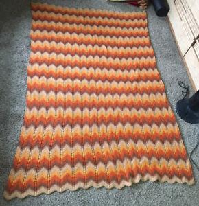 "Vintage CROCHET AFGHAN handmade Throw Blanket 57x78"" Zig Zag"