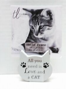 CAT HEAD Wood Photo Picture Block Animal Home Decor - ALL NEED IS LOVE AND CAT