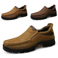 Mens Slip on Round Toe Flats Breathable Leisure Non-slip Leather Outdoors Shoes