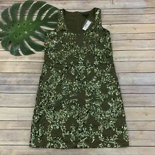 0efe04be J.Crew Iridescent Sequin Shift Dress Size 4 New Olive Green Sleeveless  Sparkle