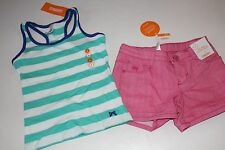Gymboree Bright and Beachy Girls Size 4 Stripe Top Shirt Denim Shorts NEW NWT