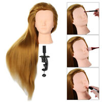 "24"" 70% Human Hair Practice Hairdressing Training Head Mannequin Doll + Clamp US"