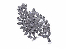 Leaf Silver Toned Brooch Pin Gift Formal Alloy Rhinestone Encrusted Floral Olive