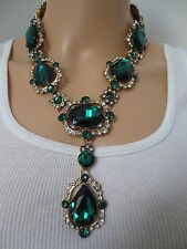 $1550 AUTHENTIC SIGNED OSCAR DE LA RENTA RUNWAY EMERALD CRYSTAL RESORT NECKLACE