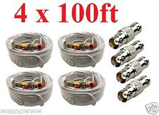 4 PACK PREMIUM 100Ft.T BNC EXTENSION CABLES FOR Swann SYSTEMS-W