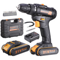 21 Volt drill 2 Speed Electric Cordless Drill/Driver with Bits Set & 2 Batteries