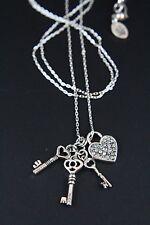 "JUICY COUTURE Silver Tone Pave Heart 3 Key Charm Pendant Necklace 31"" NWOT"