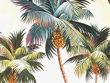 Tropical Hawaiian Cotton Barkcloth Fabric SHOWER CURTAIN ~Palm Trees~