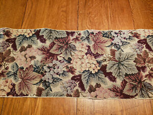 """Tapestry Table Runner 70"""" x 12-1/2"""" Grapes and Leaves Tassels"""