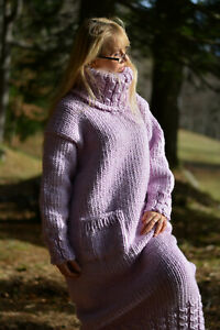 DUKYANA Handknit Chunky Wool dress handmade Tneck sweater with pockets in violet