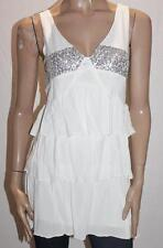 INTO Designer White CCloth Sequins Front Tiered Dress Size XXS BNWT #TA113