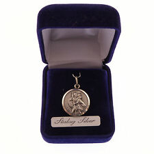 Sterling silver St. Christoper gift boxed medal 20mm Catholic