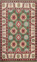 Geometric Super Kazak Oriental Area Rug Hand-Knotted Wool GREEN Carpet 3x4 ft