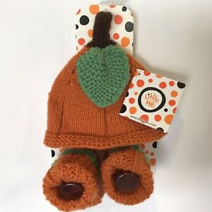 Fall Autumn Pumpkin Baby Hat & Booties Thanksgiving Holiday Costume 0-6M NEW