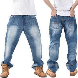 Mens Regular Straight Fit Loose Denim Jeans Light blue Pants New Size W30-W44