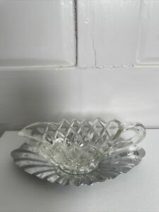Vintage Retro Crystal / Cut Glass Small Gravy Boat  Or Cream Jug with Saucer