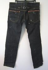 DSquared2 Italy Black Denim Creased Paint Splatter Mens Jeans US32/IT50 NWT