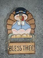 Vintage BLESS THE Tom The Thanksgiving Turkey Wall Art Handpainted 15/10 ❤️sj8m