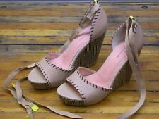 Seychelles Nude Leather Lace-Up Wedges - Size 7.5