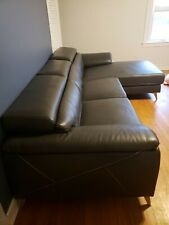 Grey leather couch set used