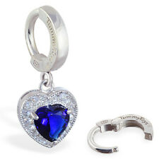 TummyToys Silver Navel Ring with Beautiful Blue & White CZ Heart Charm[TT-66070]