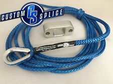 Custom Splice Pullzall Synthetic Rope Conversion Kit Blue Rope / Silver Fairlead