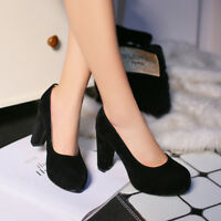 Women's Block High Heel Pumps Round Toe Platform Faux Suede Stilettos Shoes Size