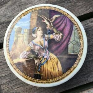 Pratt Ware Pot Lid Lady with Hawk c1870 Small Size RARE