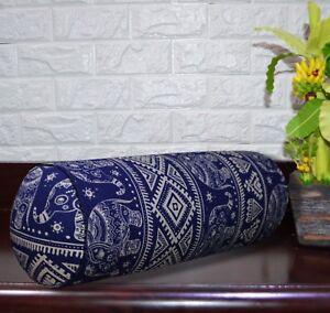 AL257g Royal Blue Beige Elephant Cotton Canvas Bolster Cover Nect Roll Yoga Case
