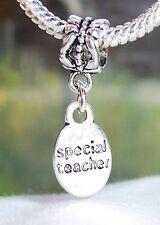Special Teacher School Student Gift Word Dangle Charm for European Bead Bracelet