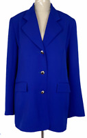 Liz Davenport Womens Blue 3 Button Fully Lined Corporate Jacket Size 12