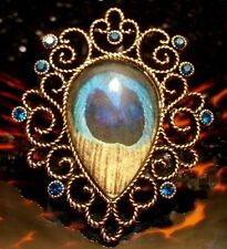 """Betsey Johnson VINTAGE Ring PEACOCK FEATHER Rose Brass LUCITE 2"""" Blue Crystal 7"""