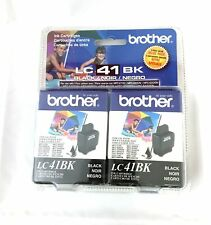 New Brother Black Ink Cartridge - 2 Pack (LC41BK) Exp 12/2012  Sealed
