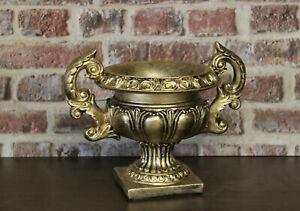 Barock Vase Schale  Blumenvasen Landhaus Rund  Antik Gold W28