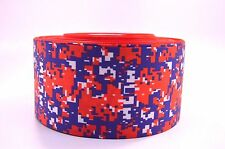 """3"""" Wide Red and Blue Digital Camo Printed on Grosgrain Cheer Bow Ribbon"""