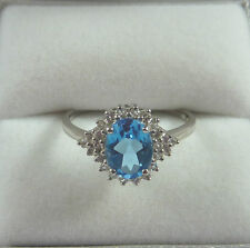 1.58ct Swiss Blue Topaz/White Topaz Solid 925 Sterling Silver RIng US (7) AU (O)