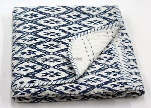 Indian Block Print Cotton Fabric Queen Size Kantha Quilt Ikat Bedspread NEW_SG_H