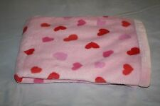 "Babies Alley Baby Blanket Pink HEARTS Thick Plush Soft 30x40"" Security Lovey"