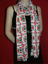 NEW ex M&S lightweight scarf cream red green purple print wedding Spring Summer
