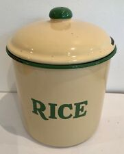 Vintage Kitchen Enamel Cannister RICE 1930s TIN ivory  Cream and Green